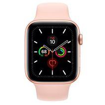Productafbeelding van de Apple Watch Series 5 Sport 44mm Gold Aluminium (Pink Silicone Strap)