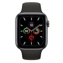 Produktimage des Apple Watch Series 5 Sport 44mm Grey Aluminium (Black Silicone Strap)