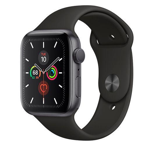 Produktimage des Apple Watch Series 5 Sport 44mm Grau Aluminium (Silikon Sportarmband Schwarz)