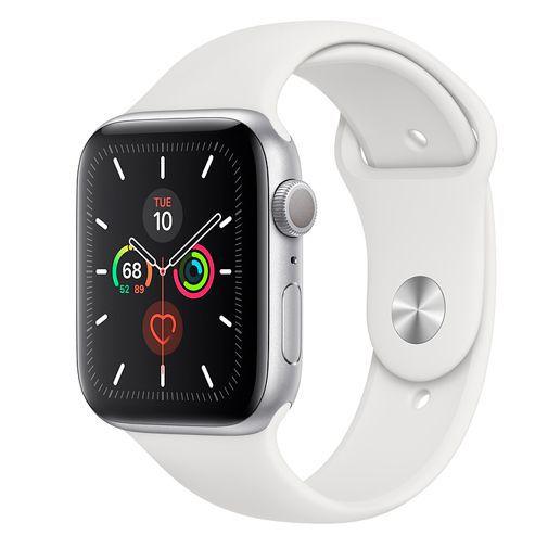 Produktimage des Apple Watch Series 5 Sport 44mm Silber Aluminium (Silikon Sportarmband Weiß)