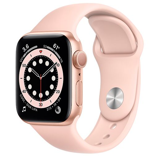 Productafbeelding van de Apple Watch Series 6 Sport 40mm Gold (Pink Silicone Strap)