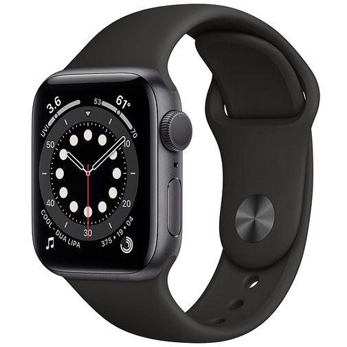 Productafbeelding van de Apple Watch Series 6 Sport 40mm Grey (Black Silicone Strap)