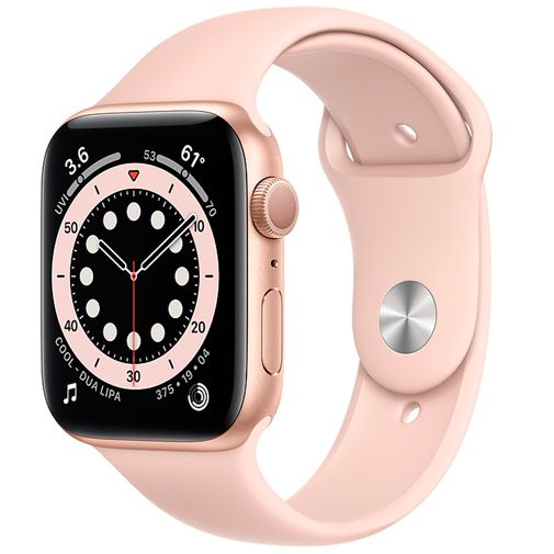 Productafbeelding van de Apple Watch Series 6 Sport 44mm Gold (Pink Silicone Strap)