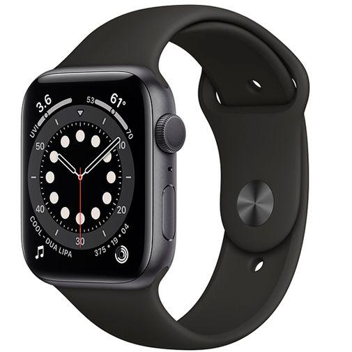 Productafbeelding van de Apple Watch Series 6 Sport 44mm Grey (Black Silicone Strap)
