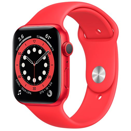 Productafbeelding van de Apple Watch Series 6 Sport 44mm Red (Red Silicone Strap)