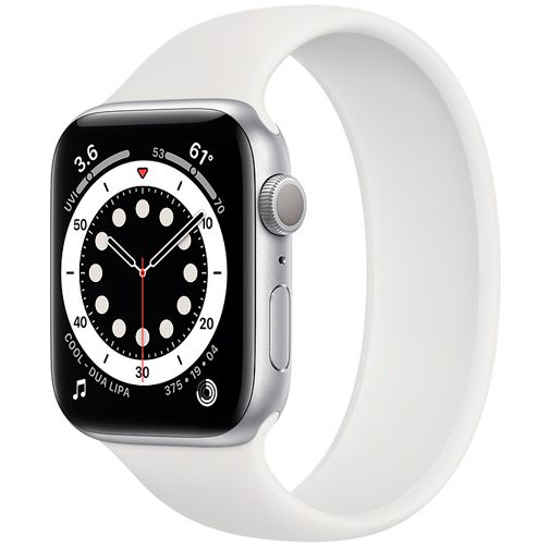 Productafbeelding van de Apple Watch Series 6 Sport 44mm Silver (White Silicone Strap)