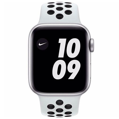 Productafbeelding van de Apple Watch Series 6 Sport Nike 40mm Zilver Aluminium Witte Siliconen Band