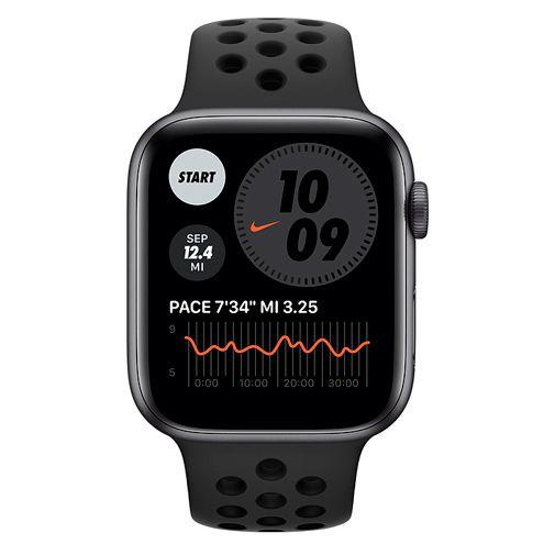 Productafbeelding van de Apple Watch Series 6 Sport Nike 44mm Grijs Aluminium Zwarte Siliconen Band