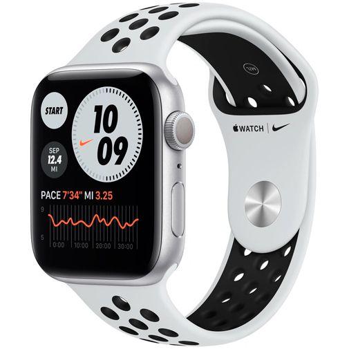 Productafbeelding van de Apple Watch Series 6 Sport Nike 44mm Zilver Aluminium Witte Siliconen Band