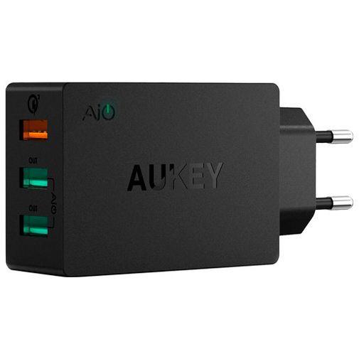 Productafbeelding van de Aukey 3x USB Snellader + Micro-USB-kabel Black