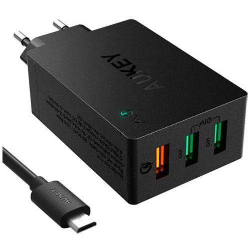 Produktimage des Aukey 3x USB Schnellladegerät + Micro-USB-Kabel Schwarz