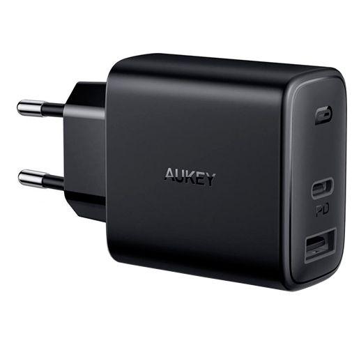 Productafbeelding van de Aukey Dual USB USB-C Snellader 32W Zwart