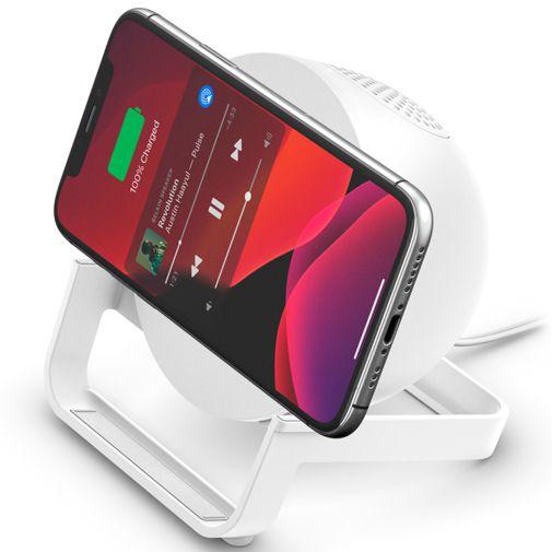 Productafbeelding van de Belkin Boost Charge Draadloze Snellader Stand + Speaker Wit