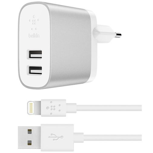 Productafbeelding van de Belkin Boost Charge Thuislader Dual USB + Lightning kabel Silver