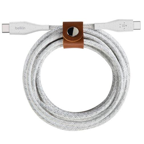Productafbeelding van de Belkin Boost Charge USB-C - USB-C Gevlochten Kabel 1 Meter Met Sluiting Wit