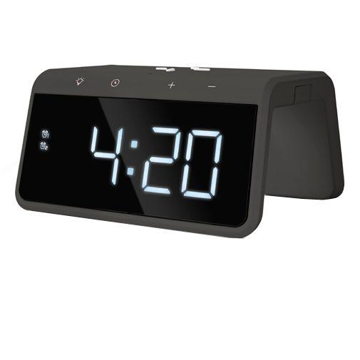 Productafbeelding van de Caliber HCG019QI Draadloze Snellader 10W + Wekker Grijs