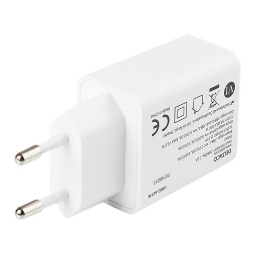 Productafbeelding van de Deltaco Dual USB USB-C Snellader 18W Wit