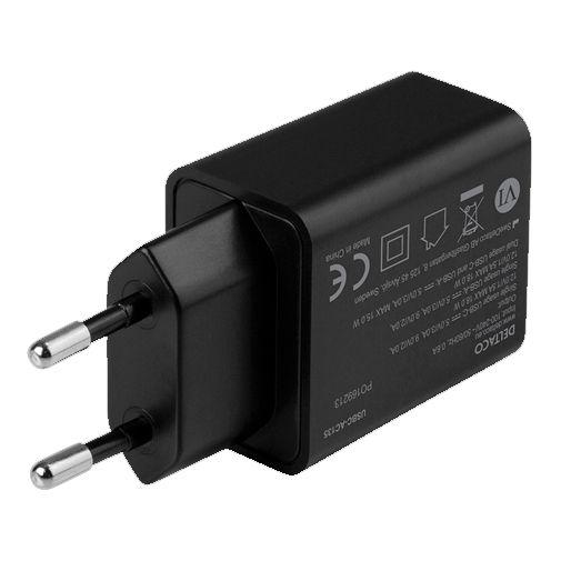 Productafbeelding van de Deltaco Dual USB USB-C Snellader 18W Zwart