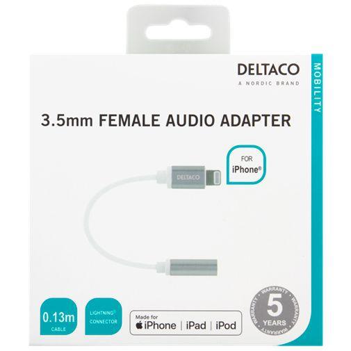 Produktimage des Deltaco Lightning auf 3.5mm Jack Female Adapter