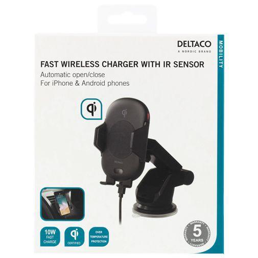 Productafbeelding van de Deltaco QI-1031 Qi Draadloze Snellader/Autohouder Sensor 10W Black