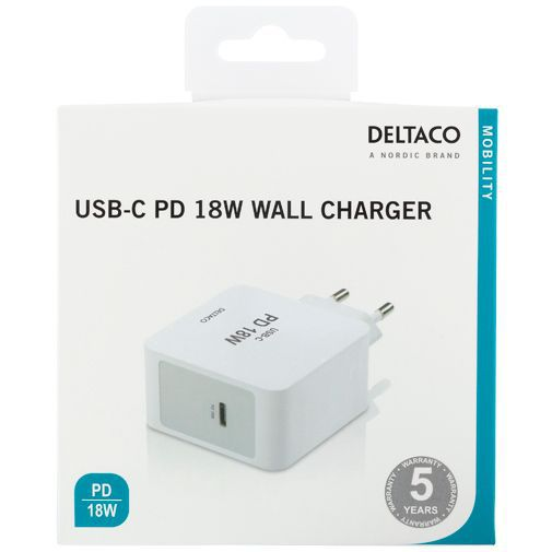Productafbeelding van de Deltaco USB-C Snellader 18W Power Delivery + Lightning kabel White