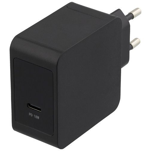 Produktimage des Deltaco USB-C Schnellladegerät 18W Power Delivery + Lightning Kabel Schwarz