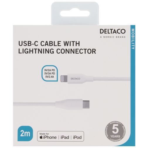Productafbeelding van de Deltaco USB-C Snellader 45W Power Delivery + Lightning kabel White