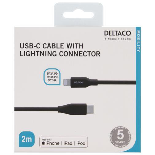 Productafbeelding van de Deltaco USB-C Snellader 45W Power Delivery + Lightning kabel Black
