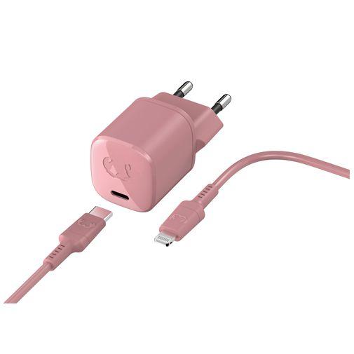 Productafbeelding van de Fresh 'n Rebel Mini USB-C Snellader 18W + Lightning Kabel Roze