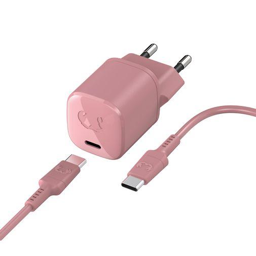Productafbeelding van de Fresh 'n Rebel Mini USB-C Snellader 18W + USB-C Kabel Roze