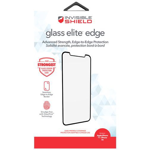 Produktimage des InvisibleShield Glass Elite Edge-to-Edge Displayschutzfolie Apple iPhone XR/11