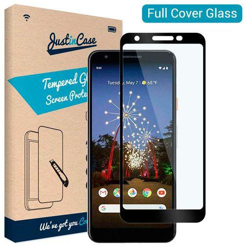 Produktimage des Just in Case Full Cover Gehärtetes Glas Displayschutzfolie Schwarz Google Pixel 3a