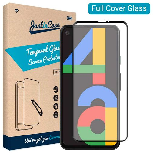 Productafbeelding van de Just in Case Full Cover Tempered Glass Screenprotector Black Google Pixel 4a