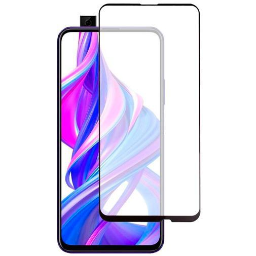 Produktimage des Just in Case Full Cover Gehärtetes Glas Displayschutzfolie Schwarz Honor 9X