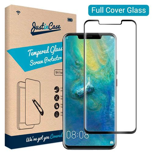 Productafbeelding van de Just in Case Full Cover Tempered Glass Screenprotector Black Huawei Mate 20 Pro