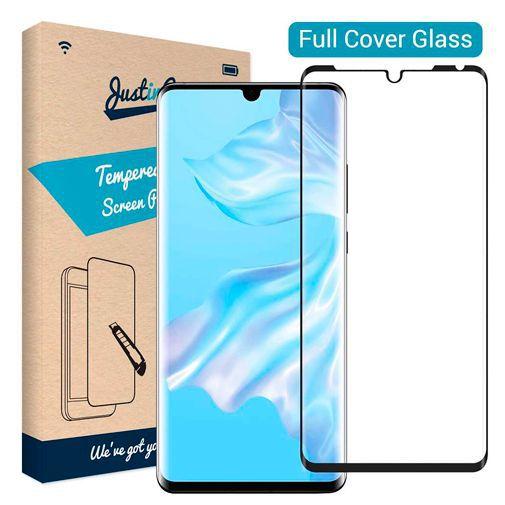 Produktimage des Just in Case Full Cover Gehärtetes Glas Displayschutzfolie Schwarz Huawei P30 Pro