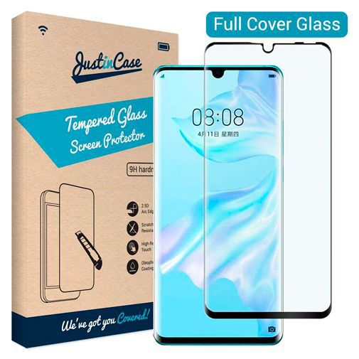 Productafbeelding van de Just in Case Full Cover Tempered Glass Screenprotector Black Huawei P30