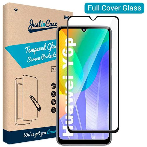 Productafbeelding van de Just in Case Full Cover Tempered Glass Screenprotector Black Huawei Y6p