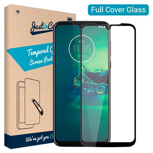 Productafbeelding van de Just in Case Full Cover Tempered Glass Screenprotector Black Motorola Moto G8