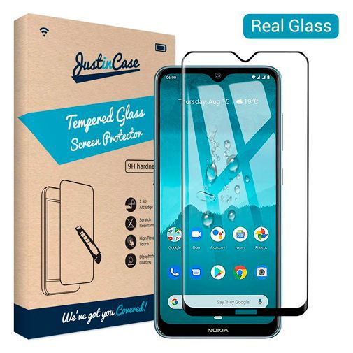 Productafbeelding van de Just in Case Full Cover Tempered Glass Screenprotector Black Nokia 6.2/7.2