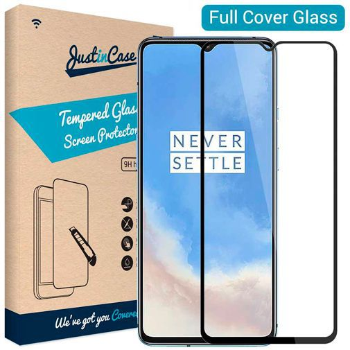 Productafbeelding van de Just in Case Full Cover Tempered Glass Screenprotector Black OnePlus 7T