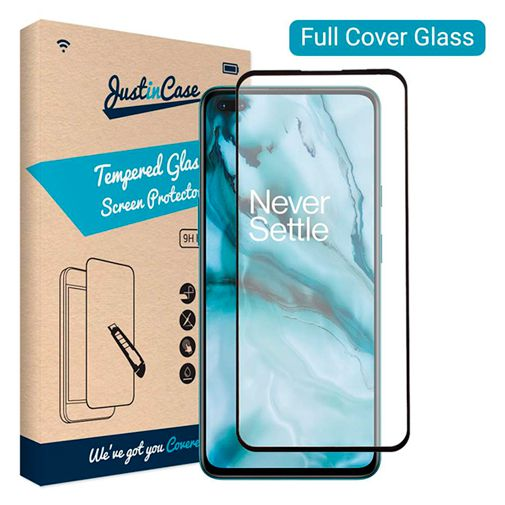 Productafbeelding van de Just in Case Full Cover Tempered Glass Screenprotector Black OnePlus Nord