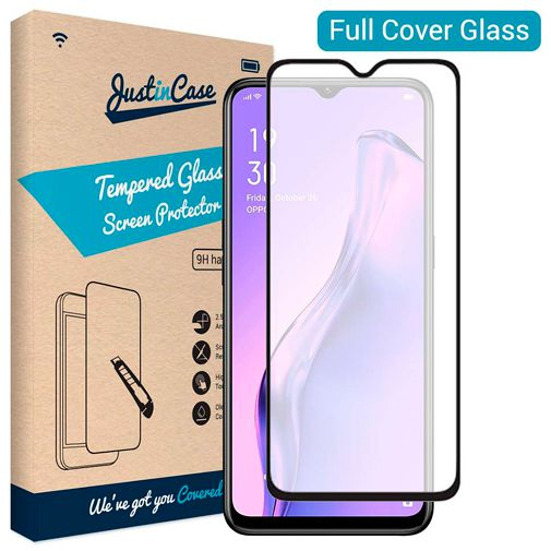 Productafbeelding van de Just in Case Full Cover Tempered Glass Screenprotector Black Oppo A31