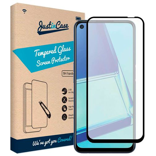 Productafbeelding van de Just in Case Full Cover Tempered Glass Screenprotector Black Oppo A52