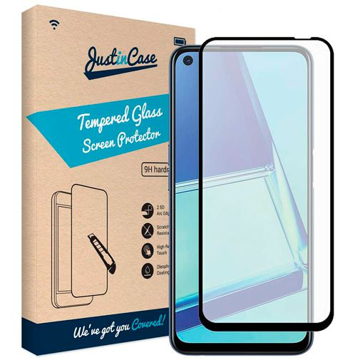 Productafbeelding van de Just in Case Full Cover Tempered Glass Screenprotector Black Oppo A72