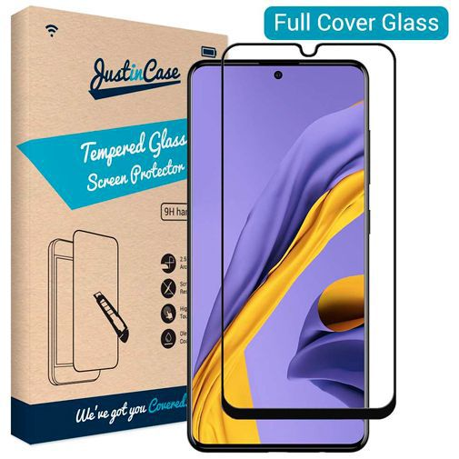 Produktimage des Just in Case Full Cover Gehärtetes Glas Displayschutzfolie Schwarz Samsung Galaxy A51