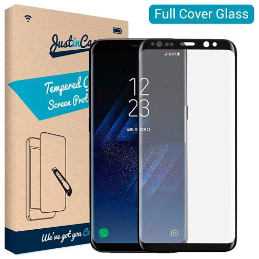 Produktimage des Just in Case Full Cover Gehärtetes Glas Displayschutzfolie Schwarz Samsung Galaxy S8