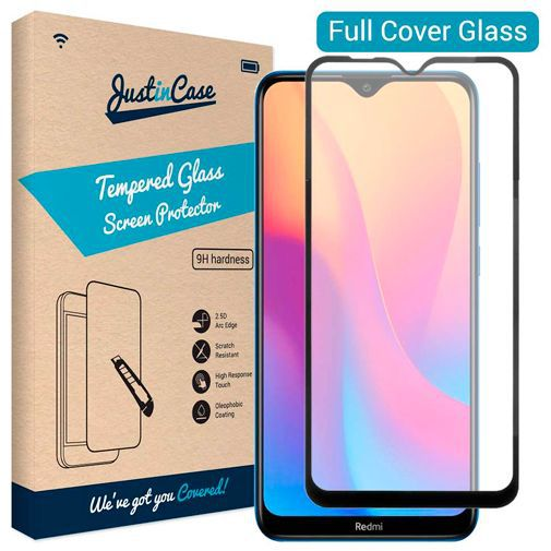 Productafbeelding van de Just in Case Full Cover Tempered Glass Screenprotector Black Xiaomi Redmi 8/8A