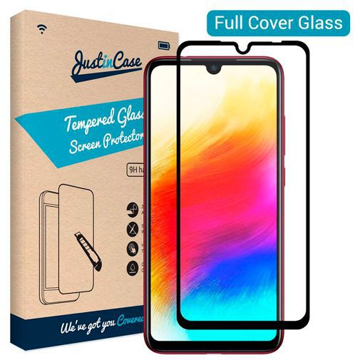 Productafbeelding van de Just in Case Full Cover Tempered Glass Screenprotector Black Xiaomi Redmi Note 7