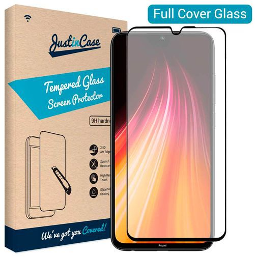Productafbeelding van de Just in Case Full Cover Tempered Glass Screenprotector Black Xiaomi Redmi Note 8